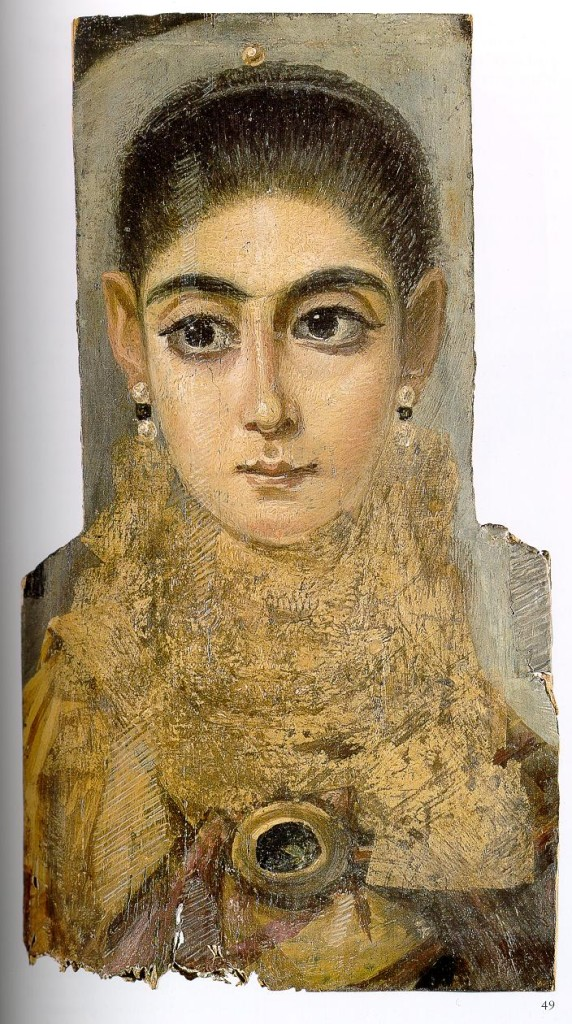 Encaustic mummy portrait of a young woman, 3rd century, Louvre, Paris.